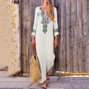 Kadın Boho Uzun Maxi Elbise Ulusal Stil Çiçek Baskı Yaz Pamuk Keten Parti Plaj Sundress Elegante Elbiseler Artı Boyutu 3XL