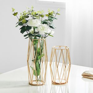 Abordable Lluxury diamant Forme Rose d'or en acier inoxydable Verre Vase de fleurs Accueil décoration de mariage Outil pour l'usine Livingroom