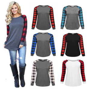 S-5XL Plaid Panel Raglan Women t shirt Long Sleeve Patchwork Blouses Spring Autumn Grid Tshirts Pullover Hoodie Casual Tops Plus Size C72306