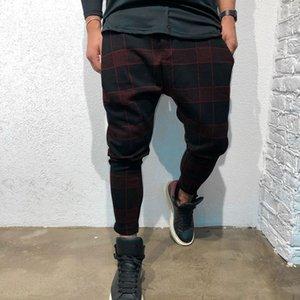Pantalones hasta los tobillos Pantalones de hombre Hip Hop Pantalón de chándal de los hombres Lattice Gradient Trajes Casual Pocket Sport Work Casual Trouser