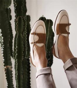Hommes Vintage Casual Chaussures Double Moine Strap Patchwork Boucle Mocassins De Luxe En Daim Partie De Mariage De Haute Qualité Robe Chaussures Homme