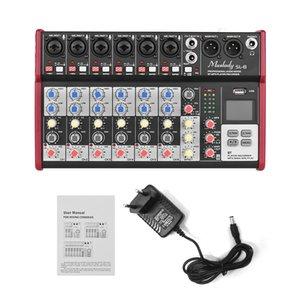 Hot New Muslady SL-8 Портативный 8-канальный микшерный пульт Mixer 2-полосный эквалайзер Встроенный 48В Поддержка BT USB Подключение MP3
