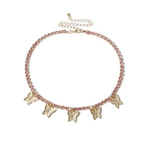 Luxury Tennis Chain Crystal Rhinestone Butterfly Choker Necklace Tassel Iced Out Bling Heavy Chain For Wome Rock Hip Hop Jewelry