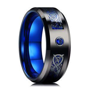 Anello in carburo di tungsteno da uomo all'ingrosso 8mm anello celtico drago blu in fibra di carbonio inalia nera nera blu toni toni
