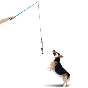 Estensibile Puppy Teaser Bacchetta Outdoor Interactive Pet Dog Flirt Training Pole Giocattolo con Corda Esercizio Q190523 Q190523