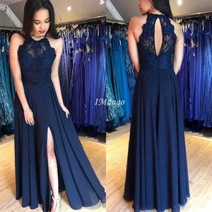 Navy Blue Side Split Prom Dresses 2020 Lace Illsuion Sequins Hollow Back A-Line Formal Arabic Evening Gowns Floor Length
