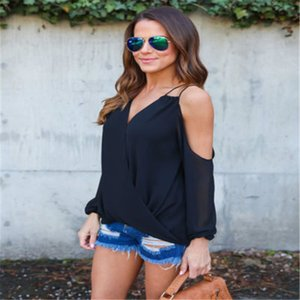 콜드 숄더 블라우스 2017 여성 5COLORS 귀여운 여름 패션 새로운 섹시한 컷 아웃 V 넥 블라우스 탑