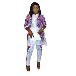2020 winter Spring long sleeve Africa Print Hot drilling tracksuit shirt+ pant 2pcs women's set Sportswear outfits suit AM305