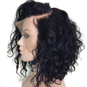 Bythair court onduleux Bob perruque Lace Front Wigs Homme Cheveux Vierge Nœuds Blanchis brésilienne de dentelle perruque pré plumé naturelle Hairline