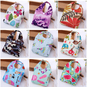 Large Foldable Shopping Bag Polyester Printted Reusable ECO Friendly Shoulder Bag Folding Pouch Storage Bags SZ632