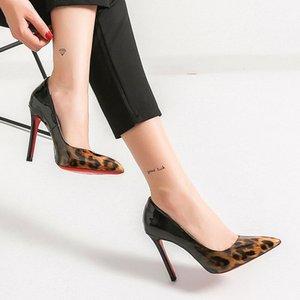 Lucky2019 Faminino 6 8 10 cm Senhoras Bombas Sexy Dedo Apontado Designer de Leopardo Banquete Vestido Sapatos de Fundo Vermelho Salto Quente Preto Branco