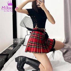 Nuovo arrivo Harajuku donne gonne moda carino verde rosso plaid mini gonna a pieghe stile punk vita alta gonna corta femminile XS-XL