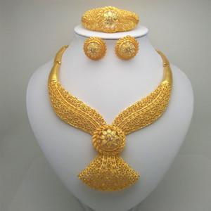 Uni Ma Collier / Boucles d'oreilles / anneau / Bracelet Parures Inde Femmes Coffret Cadeau Cadeaux de mariage de mariée africaine perles africaines ensembles de bijoux V191205