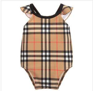 2020 yeni yüksek uç bir parça Takımı yüzmek bebek kız jumpsuits Klasik kafes mayo kız mayo çocuk plaj giyim