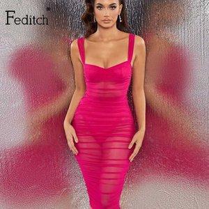 Feditch 2020 vestido de verano de la tela de acoplamiento de la envoltura bodycon vestido de verano de la correa de espagueti plisado Short Night Club atractiva de los vestidos Vestidos