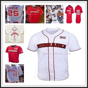 Homens personalizado Nebraska Cornhuskers NCAA Baseball Tudo costurado 7 Angelo Altavilla 4 Alex Gordon 2 Jaxon Hallmark Sewn Jerseys Atacado