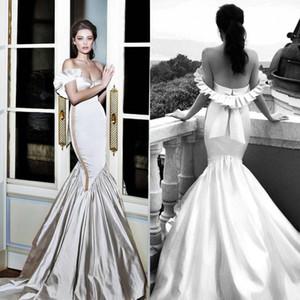 2017 strapless ruched babados sereia vestidos de baile de cetim sem encosto vestidos de noiva plus size árabes slim equipado evening dress bc2401