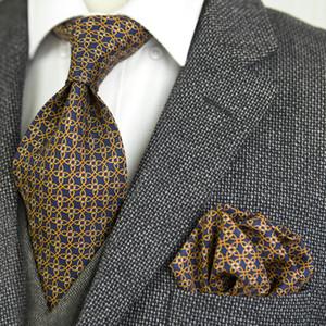 Impresso Tie Define geométrico abstrato teste padrão dos homens gravatas Laços Lenço 100% de seda de impressão frete grátis quadrado do bolso Handmade exclusivo