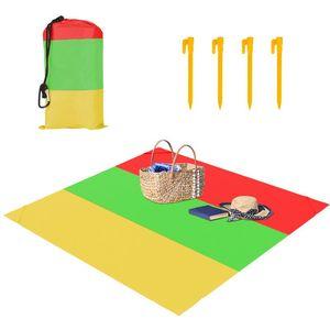 2.1 * 2M bolso Praia Mat Picnic Tent cama dobrável-Cover Blanket Camping Areia-Free Waterproof Praia Mat Blanket OutdoPicnic