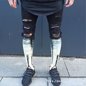 patchwork Jeans Zipper hommes Ripped femme maigre Distressed Slim célèbre designer Biker HipHop Swag Tyga Blanc Noir Jeans Slim