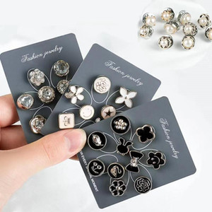 10pcs set Anti-glare brooch Fixed clothing decoration Pearl corsage pin buckle brooches enamel pins broches de créateurs drop ship