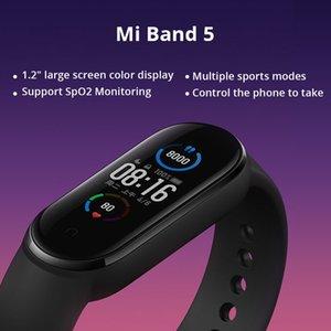 XIAOMI مي باند 5 الذكية سوار 4 اللون شاشة تعمل باللمس Miband 5 الاسورة للياقة البدنية الدم الأكسجين المسار معدل ضربات القلب MonitorSmartband من Youpin