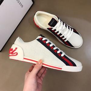 Luxe Designer de cuir de Rockrunner Hommes Femmes Chaussures Sneakers Chaussures occasionnels Femmes Flats Chaussures de Sport Tennis Impression R384