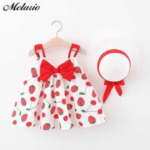 Melario Bebek Toddle Elbise Kız Elbise Bebek Kız Bow-düğüm Çocuklar Elbiseler Pricess vestidos ile Hat için