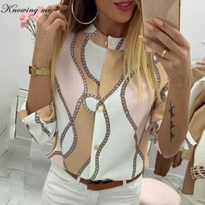 여성 봄 조절 소매 체인 레저 최고 우아한 파인애플 인쇄 버튼 블라우스 셔츠 섹시한 V 넥 기본 Blusa Y200103 저를 알고