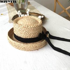 2019 Nuevos Sombreros de Paja Naturales Plegables Trilby Short Brim Sombrero de Verano Sombrero de Rafia Cinta Negra Panamá Elegante Gorra de Señoras