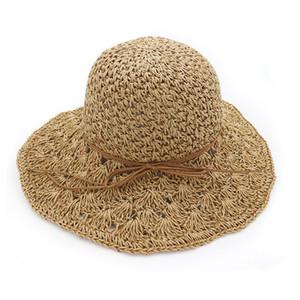 Yaz Şapka Kadınlar Için Panama El Yapımı Tığ Hasır Şapka Femme Katlanabilir Güneş Şapka Büyük Geniş Ağız Visor Kemik Kadın Plaj Güneş Kap