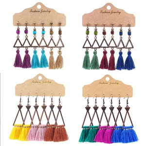 3Pair Set Bohemian Dangle Earrings Set for Women Girl Geometric Triangle Woolen Long Tassel Earrings Hot Sale Jewelry Wholesale