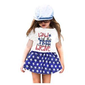 2 pezzi del bambino bambini della neonata di 4 ° di luglio vestiti breve lettera del manicotto T-shirt stampata Patriotic Top Stars Skirt Outfit ropa niña