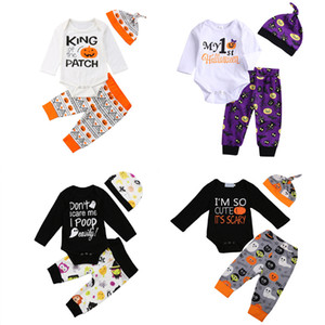 Bebek Bebek Karikatür Suit Bebek Boy Cadılar Bayramı Teması Giyim Çocuk Giyim Boy Harf Kabak Türkiye Tişört Pantolon Şapka Suit 06