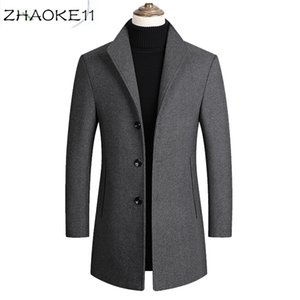 2020 men's jacket casual mid-length lapel wool trench coat slim new solid color high quality men's wool jacket luxury clothing