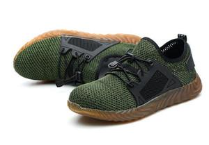 Dropshipping Indestrutível Sapatos de Aço Inoxidável Botas de Segurança Do Dedo Do Pé Das Mulheres Dos Homens de Punção à Prova de Sapatilhas de Trabalho Respirável Sapatos