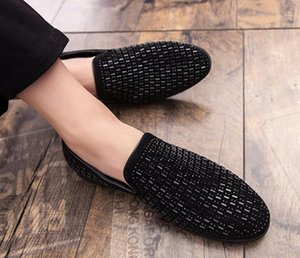 New Fashion Full Shining PVC Bricks Decoration Mens Formal Dress Shoes Soft Sole Slip-on Loafers Big Size Party Casual Shoes DA6