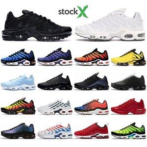 With Socks Tn Plus Men Women Running shoes Triple Black White Throwback Future University red Spray paint Pime Mens trainers Sport sneaker