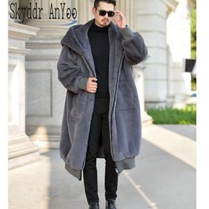 De gran tamaño de invierno abrigos de pieles con capucha de las mujeres de piel falsa de la capa larga caliente de la cremallera de lujo prendas casuales de cuero de invierno Chaquetas Robe1