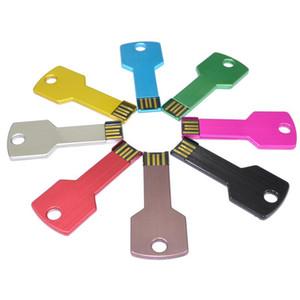 Custom logo USB-Flash-Laufwerk Metallschlüsselform Pendrive 4GB 8GB 32G 16GB Wasserdicht Pen Drive Memory Stick Schlüsselanhänger Bunte U-Disk-Geschenk