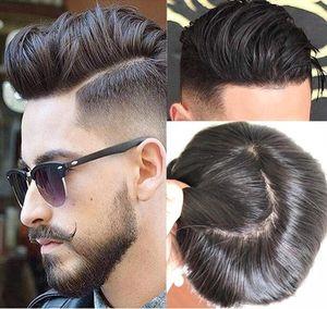 M Кружевная единица полный шелковый парил с невидимыми узлами Мужской парик мужчины Topee прямые 10A Virgin Chility Chilithe Замена волос Бесплатная доставка