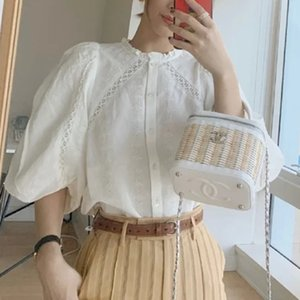 2020 Summer Romantic Women's Blouse embroidered ladies Lantern sleeve shirt lace hollow out Female Blouses and top