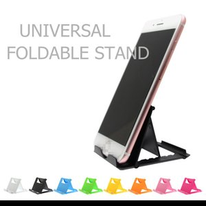 Cell Phone Holder Foldable Stand Universal 8 Colors With Card Pack Plastic Cell Phone Accessories Mount