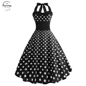 Robes Femme Summer Women White Polka Dot Dress 50S 60 Vintage Pin Up Swing Rockabilly Birthday Celebrateing Party Dresses