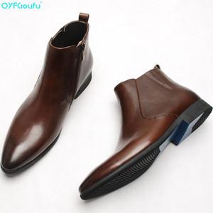 QYFCIOUFU 2019 alla moda Stivali in pelle genuina per gli uomini Scarpe a punta Zipper piana handmade italiano Mens Dress Boots