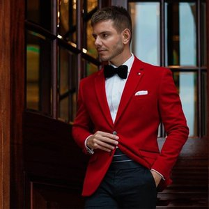 Fashion Red Groom Tuxedos Notch Lapel Groomsmen Wedding Tuxedos Excellent Men Formal Dinner Party Prom Blazer Suit(Jacket+Pants+Tie) 1120