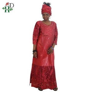 H&D African Dresses for Women African Head Wraps Robe Africaine Beading Lace Bazin Outfit Dress Clothes South Africa