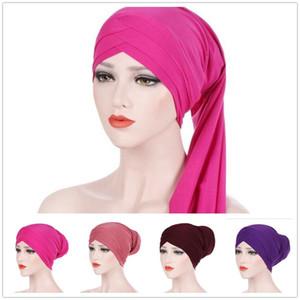 Müslüman Kadınlar Stretch Çapraz Pamuk Uzun Turban Şapka Sıcak Kemoterapi kasketleri Şapkalar Wrap Saç Bandı Cap Aksesuarları Plate