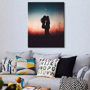 Nordic arte criativa de Mordern amantes Sunset Kiss Canvas do poster da Imagem Mural preço barato para a cama do quarto da pintura na lona