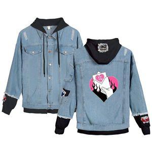 Rholycrown Fashion Trend Giacca di jeans Giacca Payton Moormeier gioventù degli uomini / donne Same Hooded Denim Streetwear superiore casuale